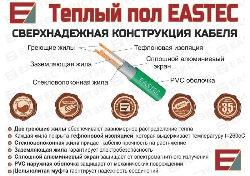 Конструкция кабеля для теплого пола EASTEC